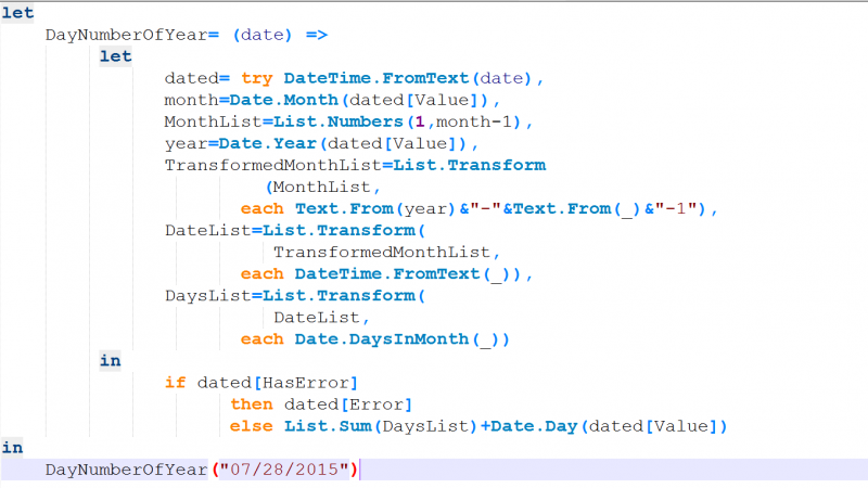 Day Number of Year, Power Query Custom Function
