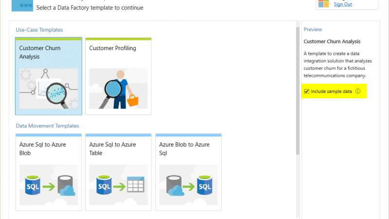 Azure Data Factory Templates for Visual Studio