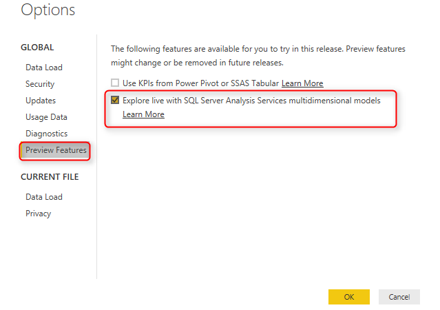 Live SSAS Multi-Dimensional Connection from Power BI
