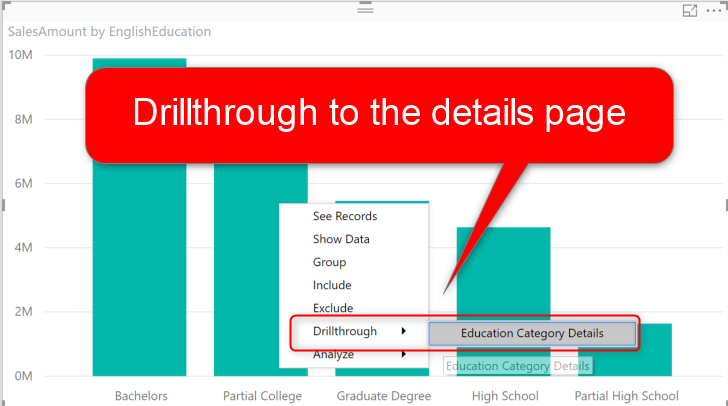 Master Detail Design with Drillthrough Filter in Power BI