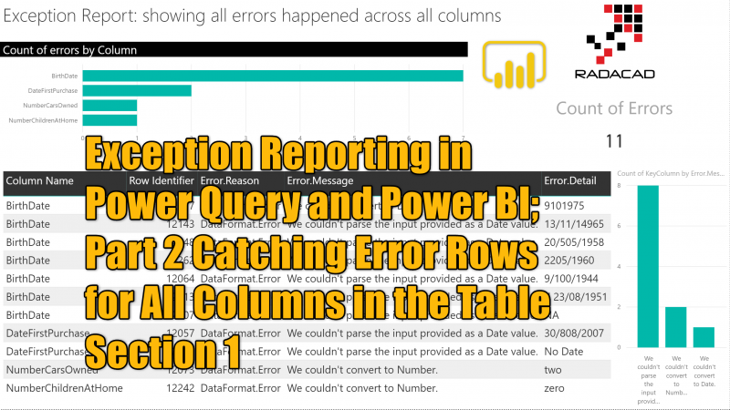 Exception Reporting in Power Query and Power BI; Part 2 Catching Error Rows for All Columns in the Table Section 1