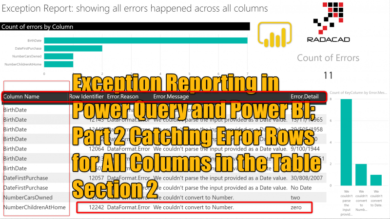 Exception Reporting in Power Query and Power BI; Part 2 Catching Error Rows for All Columns in the Table Section 2
