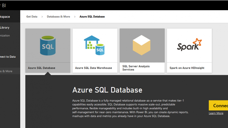 Power BI Get Data: From Azure SQL Database