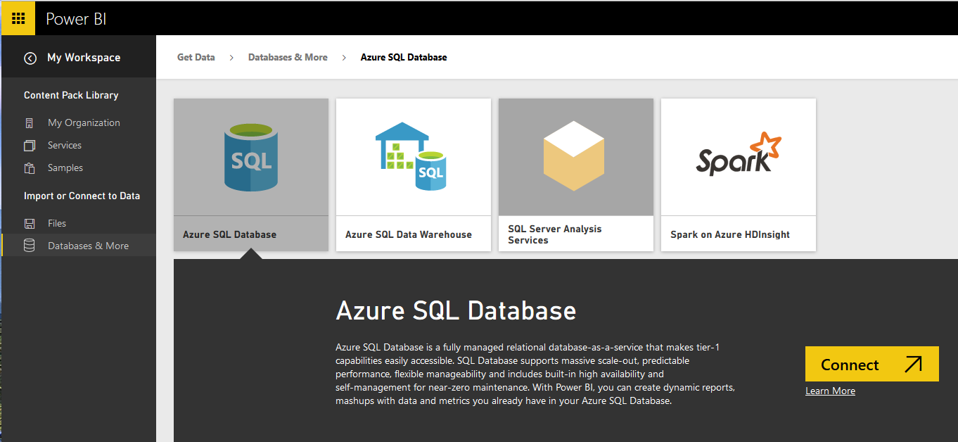 Power Bi Get Data From Azure Sql Database