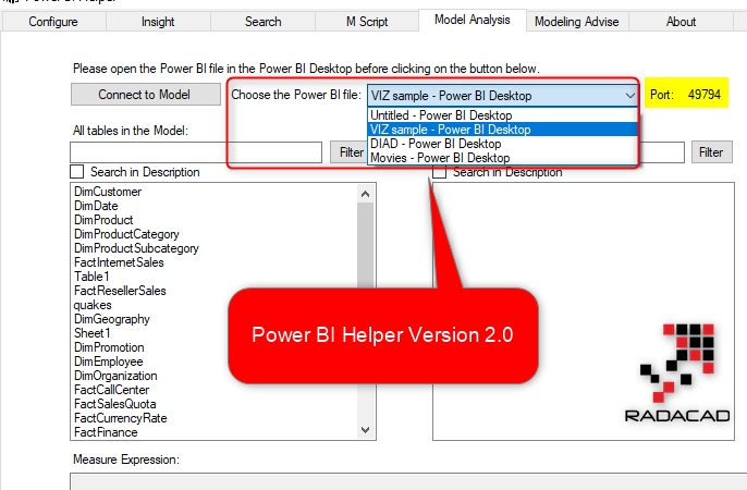 Power BI Helper Version 2: Connection Types, Multiple PBI files, Relationship advise, and Not used tables
