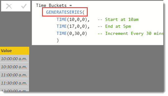 Quick DAX: Use GENERATESERIES to create Time buckets