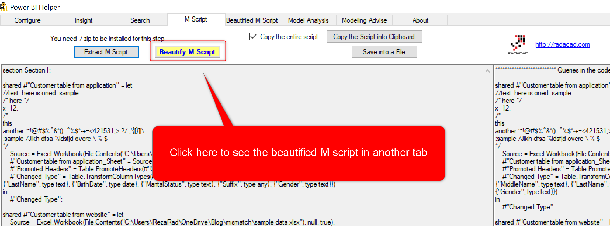 Beautify M Script and Extract Row Level Security with Power BI