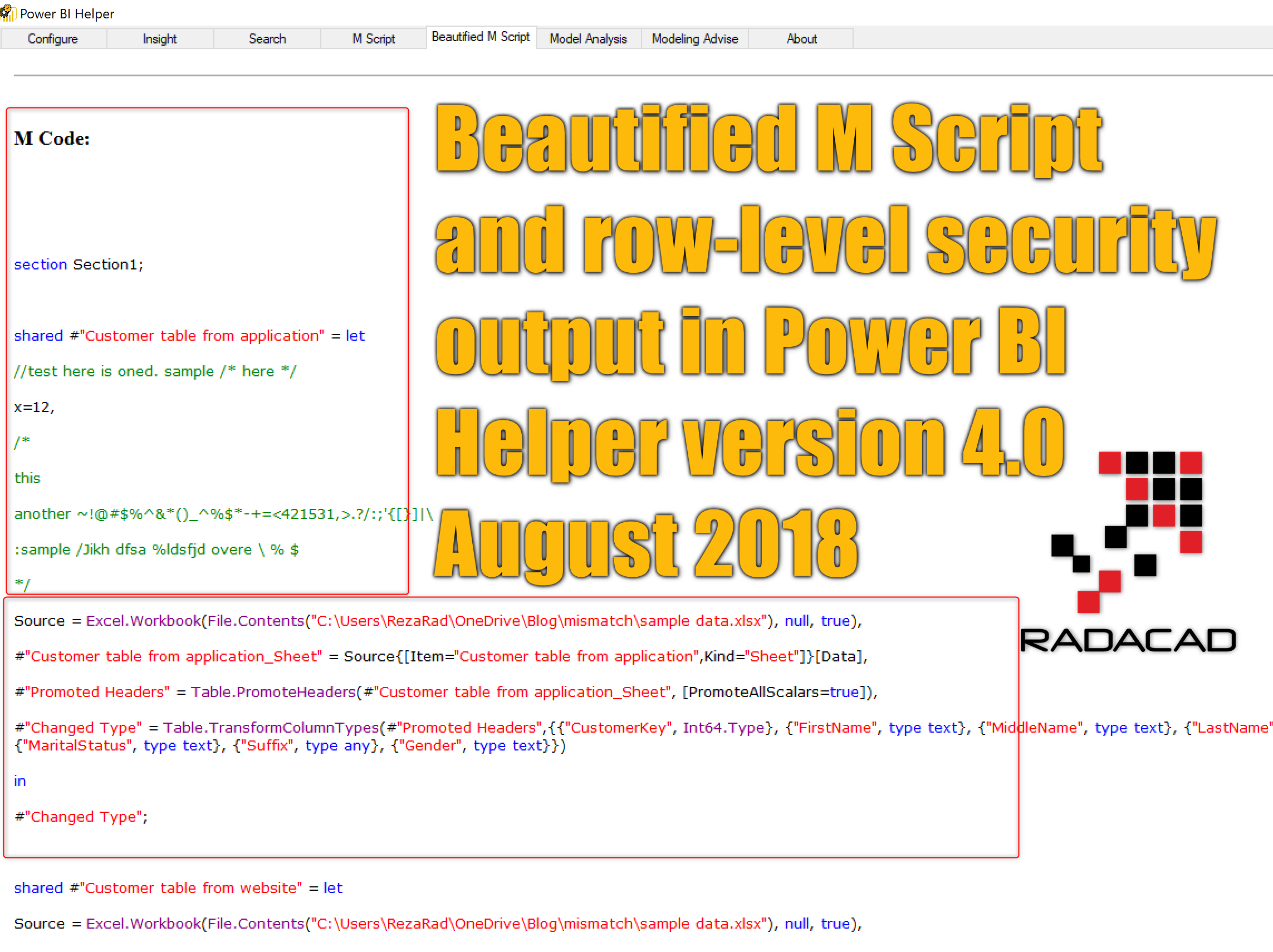 Beautify M Script and Extract Row Level Security with Power