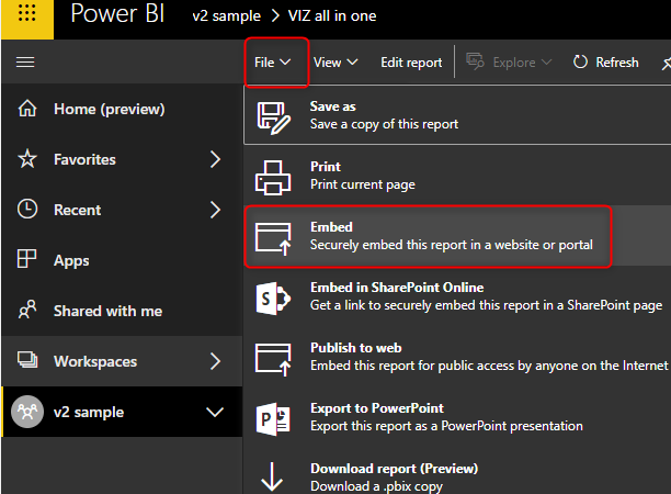 Sharing Power BI Reports with Secure Embed code