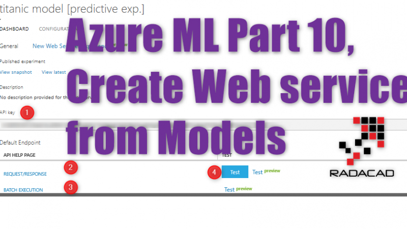 Azure ML Part 10, Create Web service from Models
