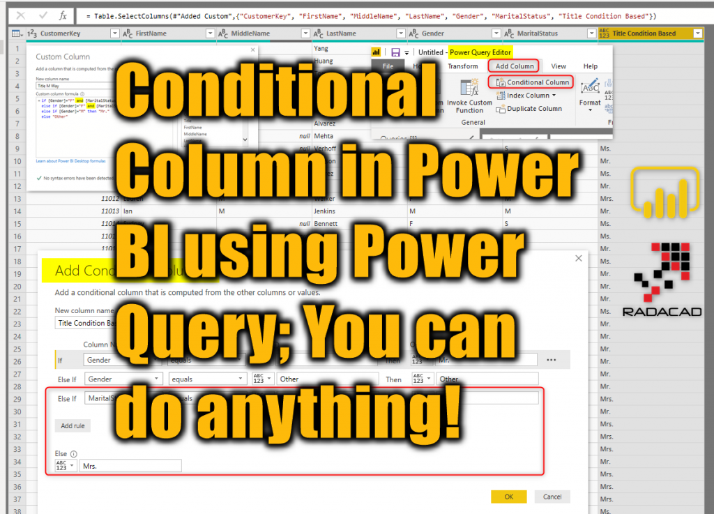 Conditional Column in Power BI using Power Query