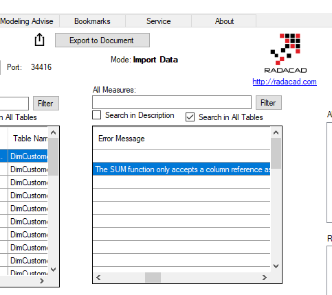 Find Error DAX Expressions, Export Tables, Gateway and APP