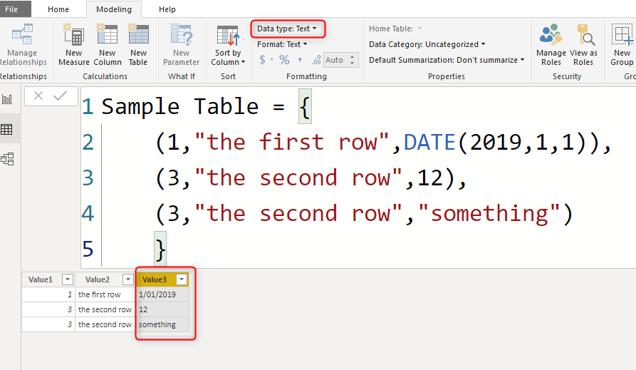 Creating a Table in Power BI Using DAX Table Constructor